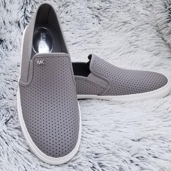 Michael Kors Perforated Gray Slip Ons